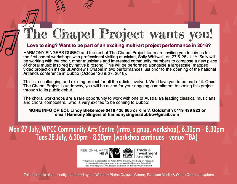 The Chapel Project Dubbo choral workshops